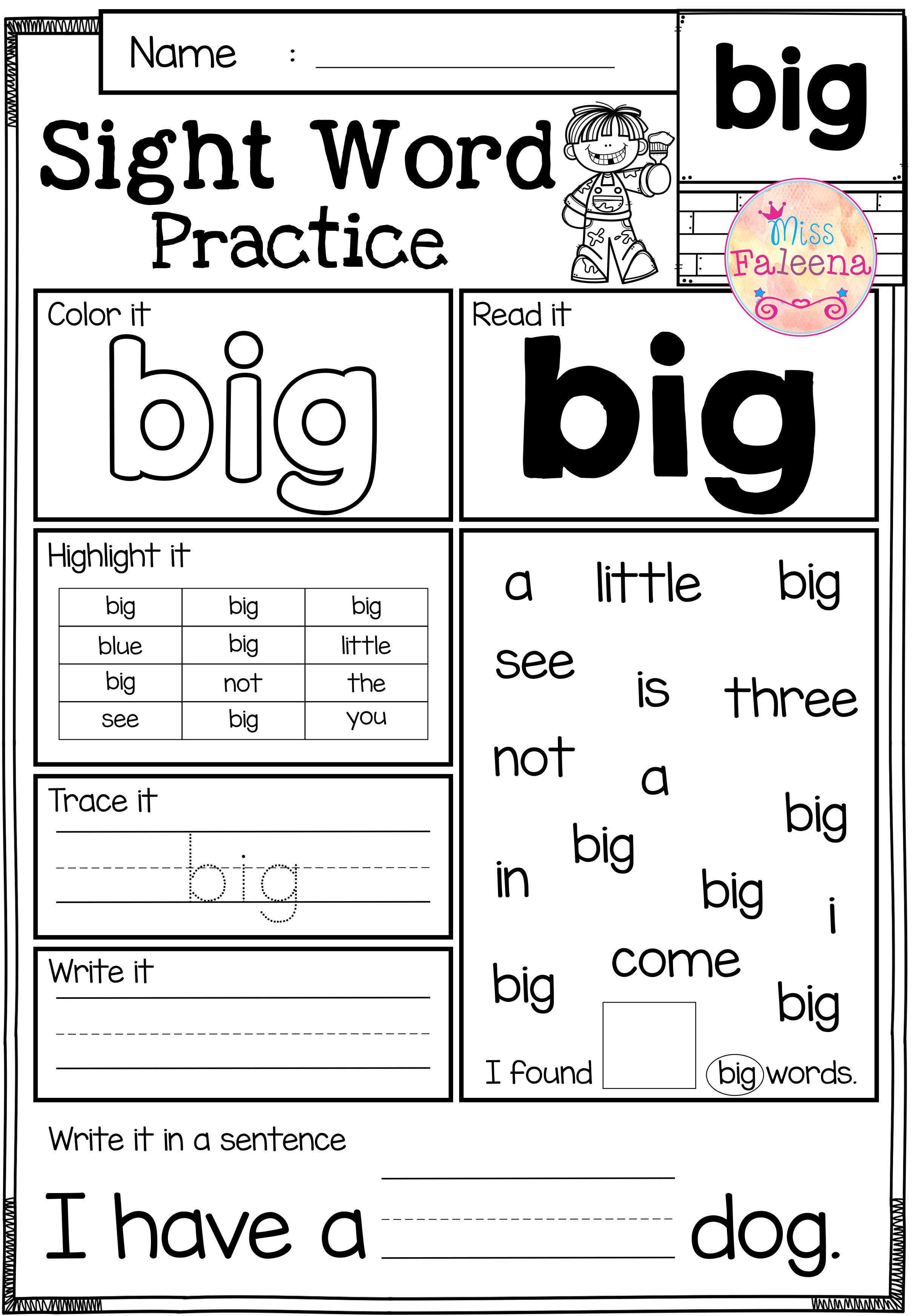 Kindergarten Reading Worksheets Sight Words Sight Word Practice Pre Primer