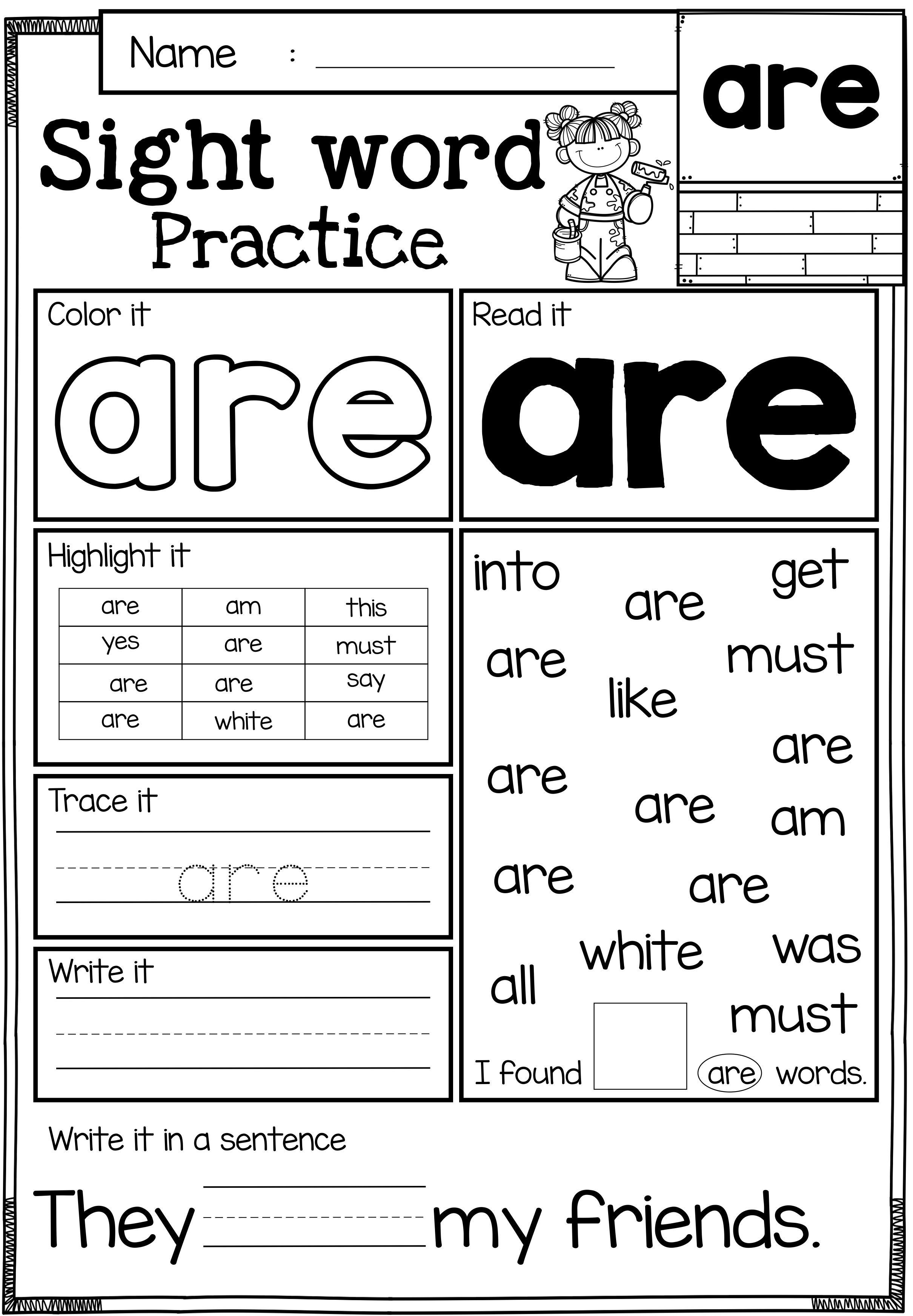 Kindergarten Reading Worksheets Sight Words Sight Word Practice Primer