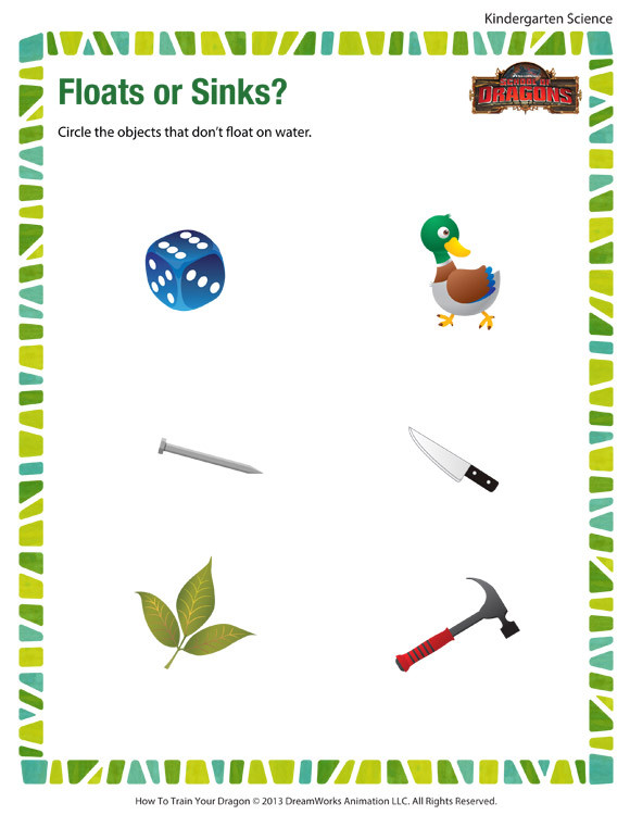 Kindergarten Science Worksheets Free Floats or Sinks Worksheet – Free Kindergarten Science Printables
