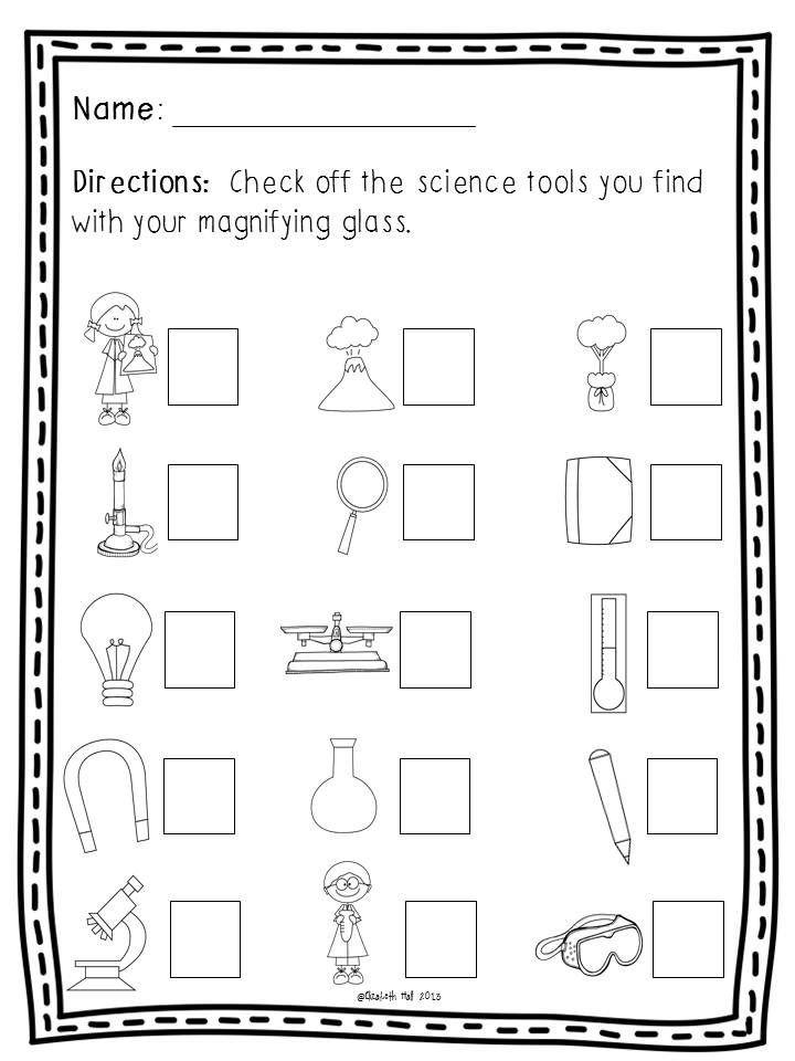 Kindergarten Science Worksheets Free Science tools Freebie