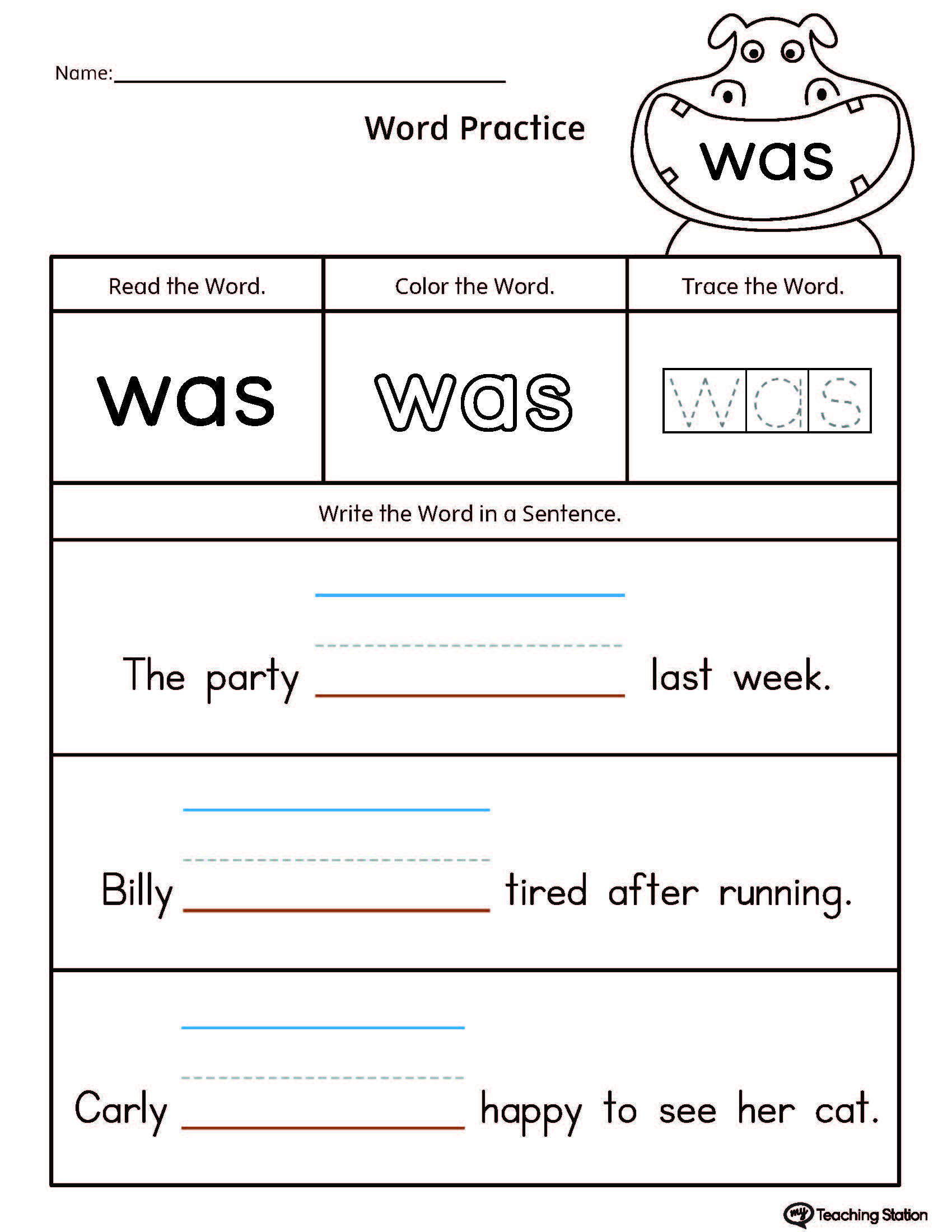 Kindergarten Sentence Writing Practice Worksheets Build Sentences Using Sight Word Was