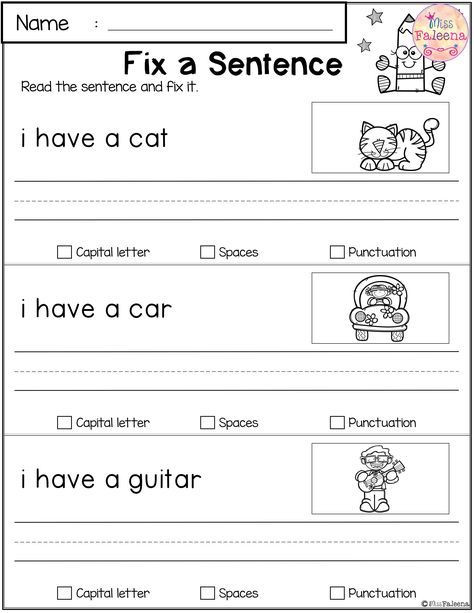 Kindergarten Sentence Writing Practice Worksheets Free Reading and Writing Practice