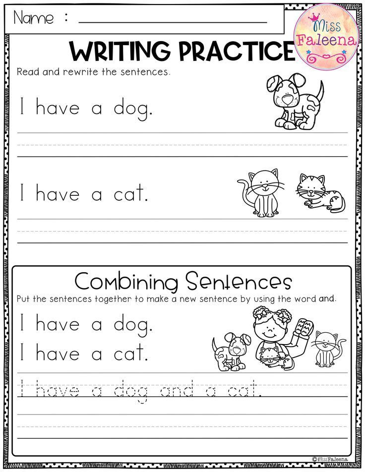 Kindergarten Sentence Writing Practice Worksheets Free Writing Practice Bining Sentences