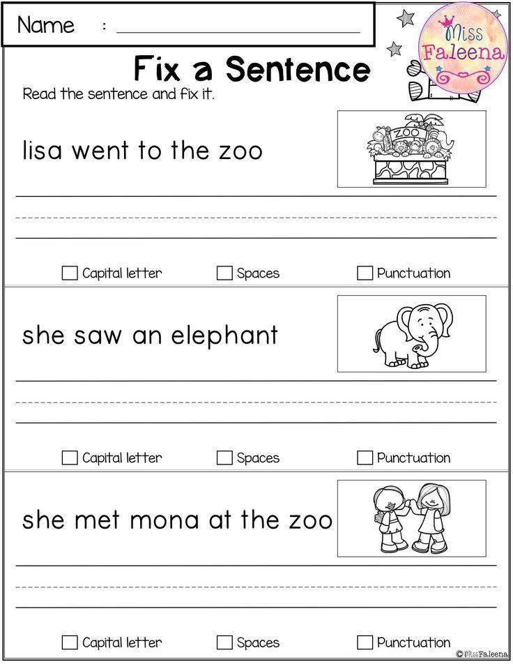 Kindergarten Sentence Writing Practice Worksheets May Reading and Writing Practice Dengan Gambar