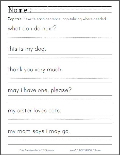 Kindergarten Sentence Writing Practice Worksheets Sentence Writing Worksheets for Kindergarten & Free