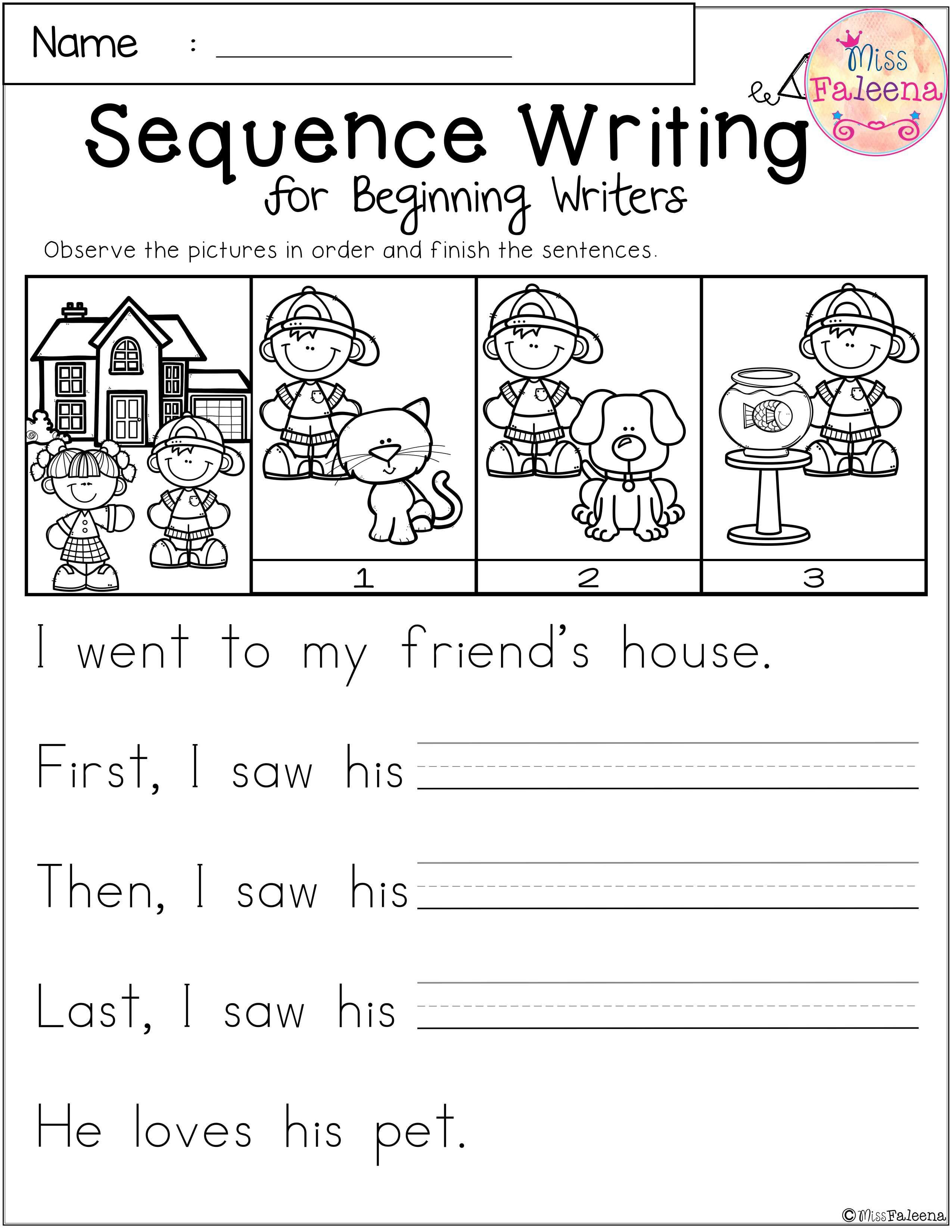 Kindergarten Sequence Worksheets Free Sequence Writing for Beginning Writers with Images