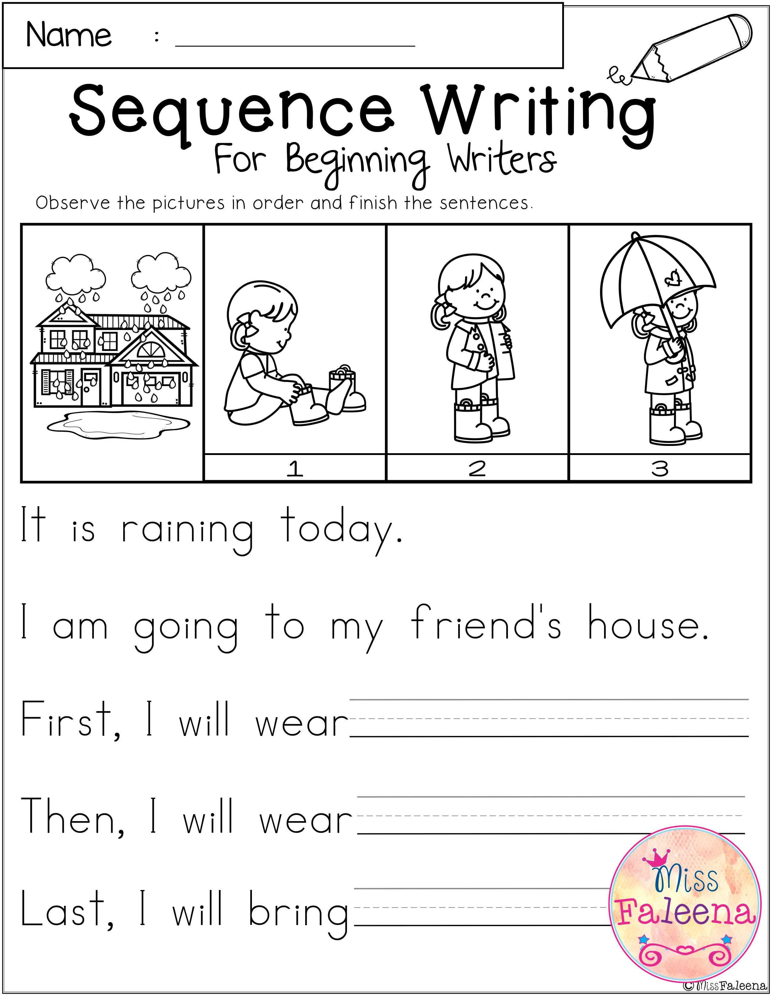 Kindergarten Sequence Worksheets March Sequence Writing for Beginning Writers