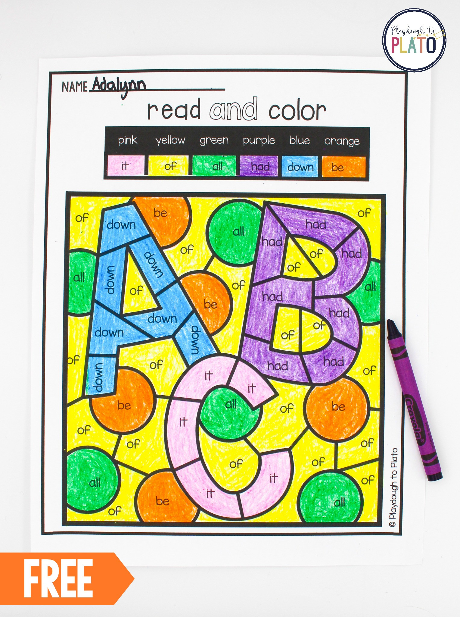 Kindergarten Sight Word Coloring Worksheets Color by Sight Word Playdough to Plato