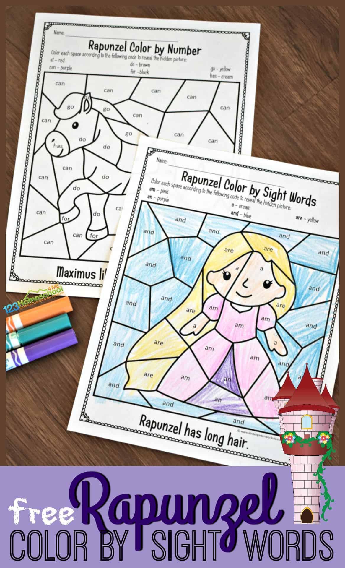 Kindergarten Sight Word Coloring Worksheets Free Rapunzel Sight Words Coloring