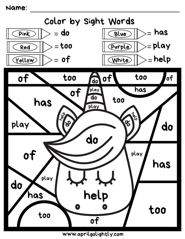 Kindergarten Sight Word Coloring Worksheets Free Unicorn Printable Coloring Pages April Golightly