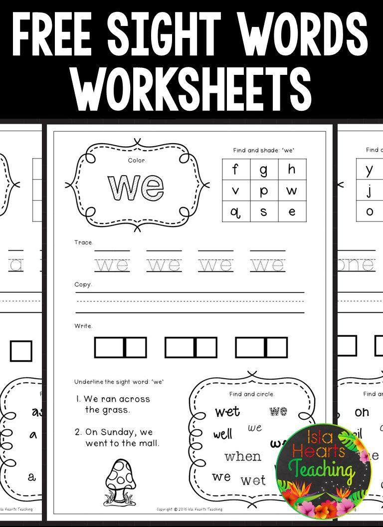 Kindergarten Sight Words Worksheet Free Free Sight Words Worksheets Kindergarten
