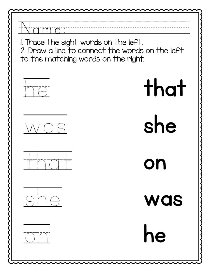 Kindergarten Sight Words Worksheet Free Kindergarten Sight Words Worksheets [no Prep]