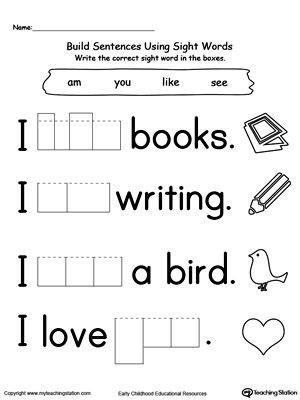 Kindergarten Sight Words Worksheet Free Preschool and Kindergarten Worksheets