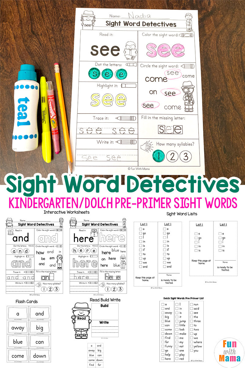Kindergarten Sight Words Worksheets Pre K Sight Words Worksheets Fun with Mama
