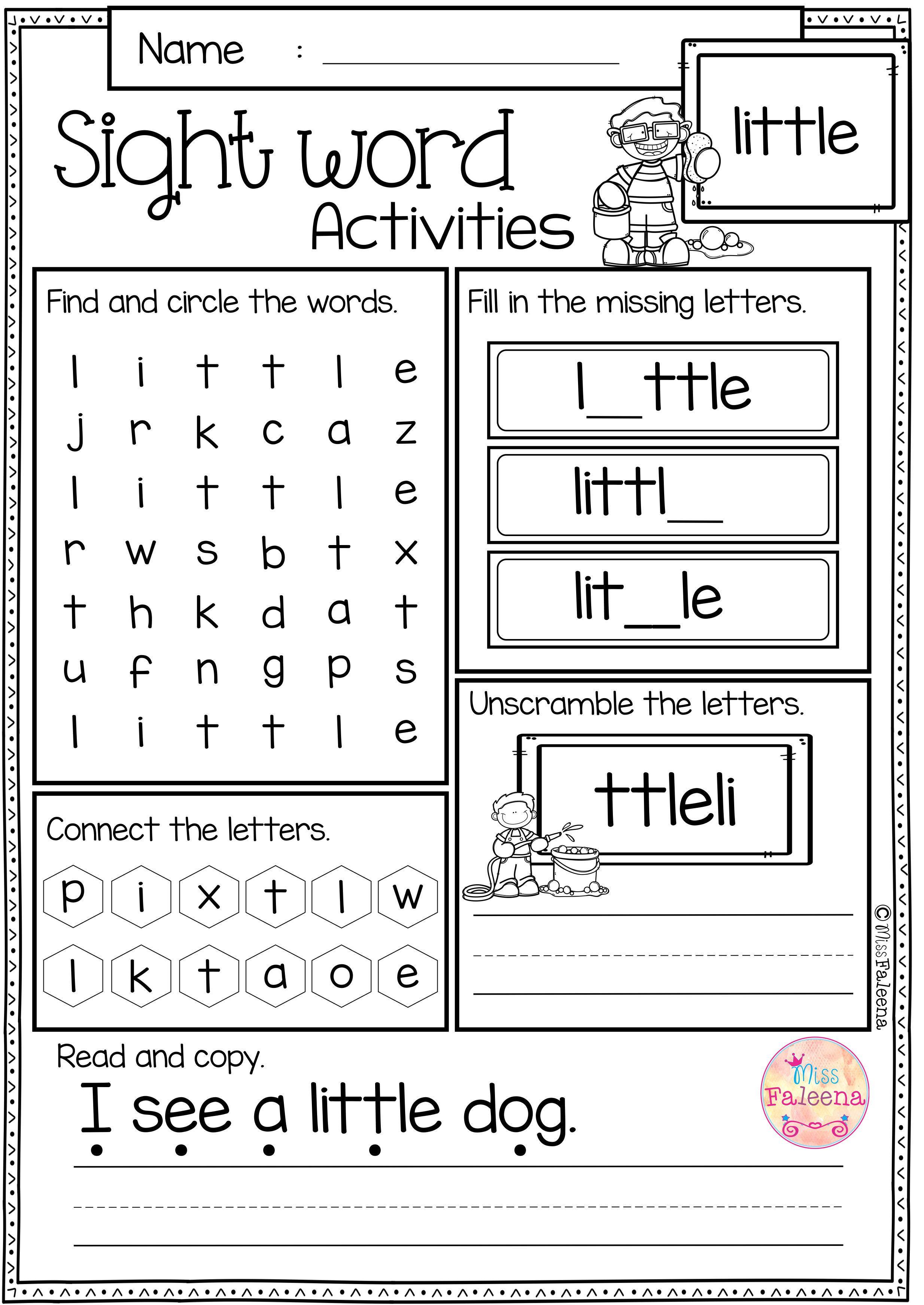Kindergarten Sight Words Worksheets Sight Word Activities Pre Primer