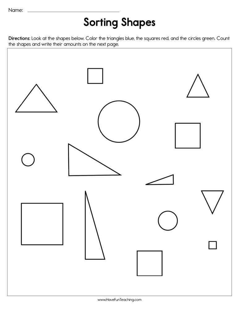 Kindergarten sorting Worksheets sorting Shapes Worksheet