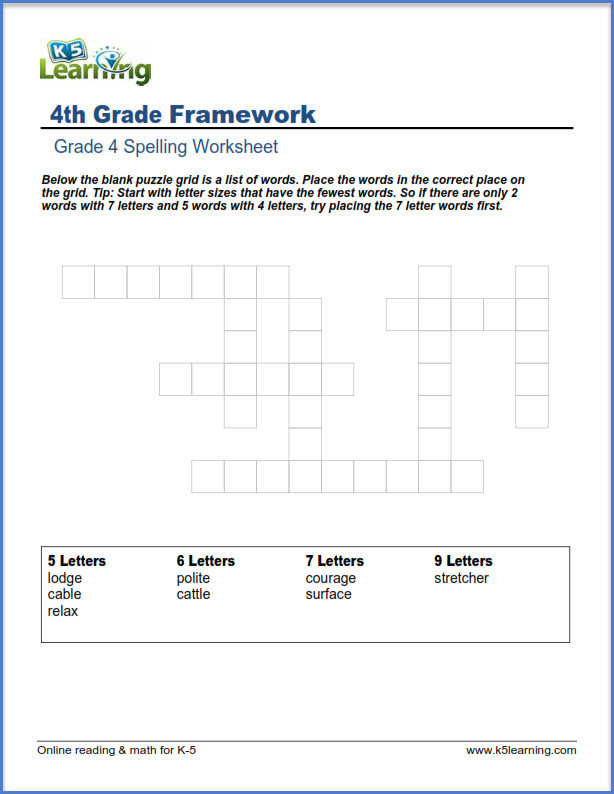 Kindergarten Spelling Worksheets Fourth Grade Spelling Worksheets K5 Learning Puzzles