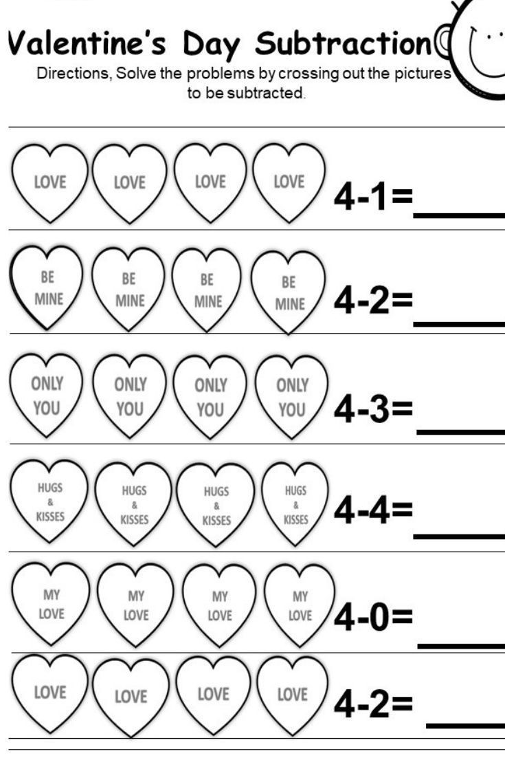 Kindergarten Subtraction Worksheets Free Printable Free Valentine S Day Subtraction Printables