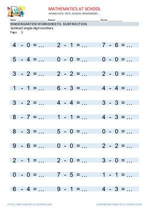 Kindergarten Subtraction Worksheets Free Printable Kindergarten Worksheets Subtract Single Digit Numbers
