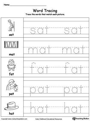 Kindergarten Three Letter Words Worksheets Free Word Tracing at Words Worksheet topics Writing