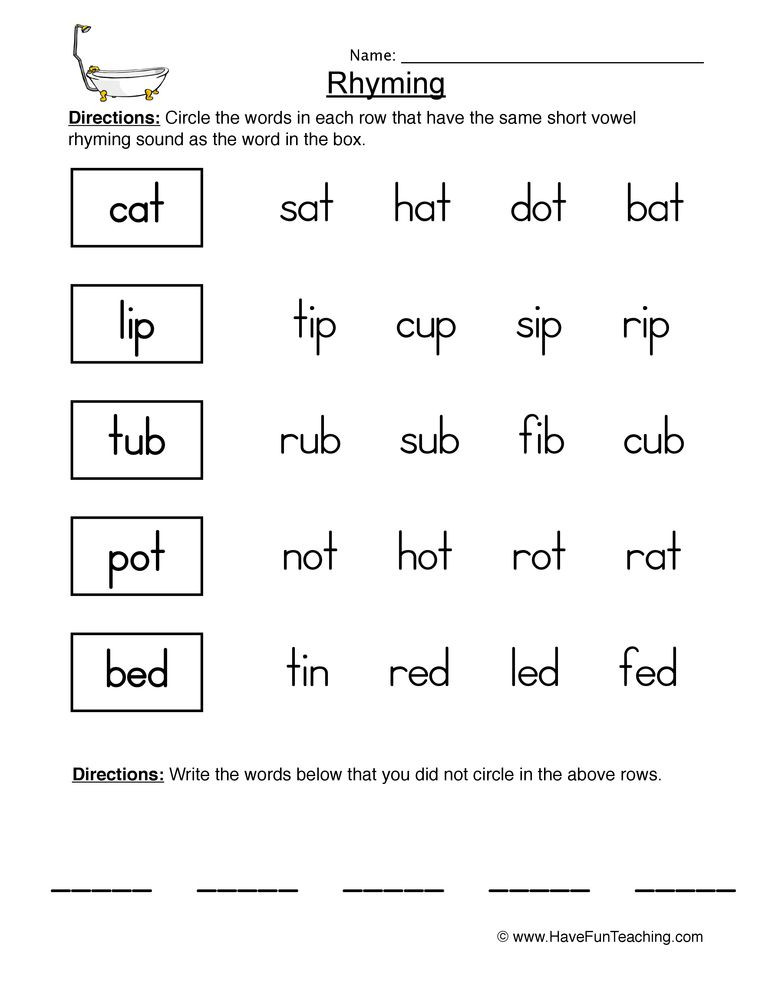 Kindergarten Three Letter Words Worksheets Rhyming Worksheet 1