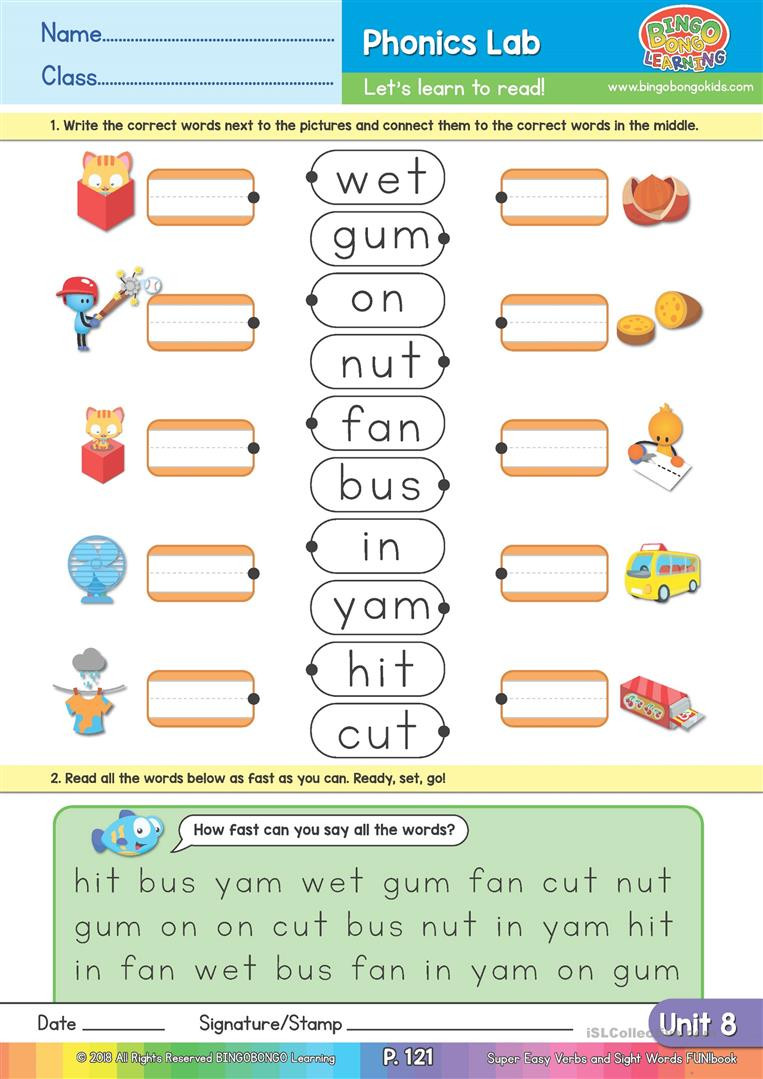 Kindergarten Three Letter Words Worksheets Two and Three Letter Word Matching Bingobonic Phonics From