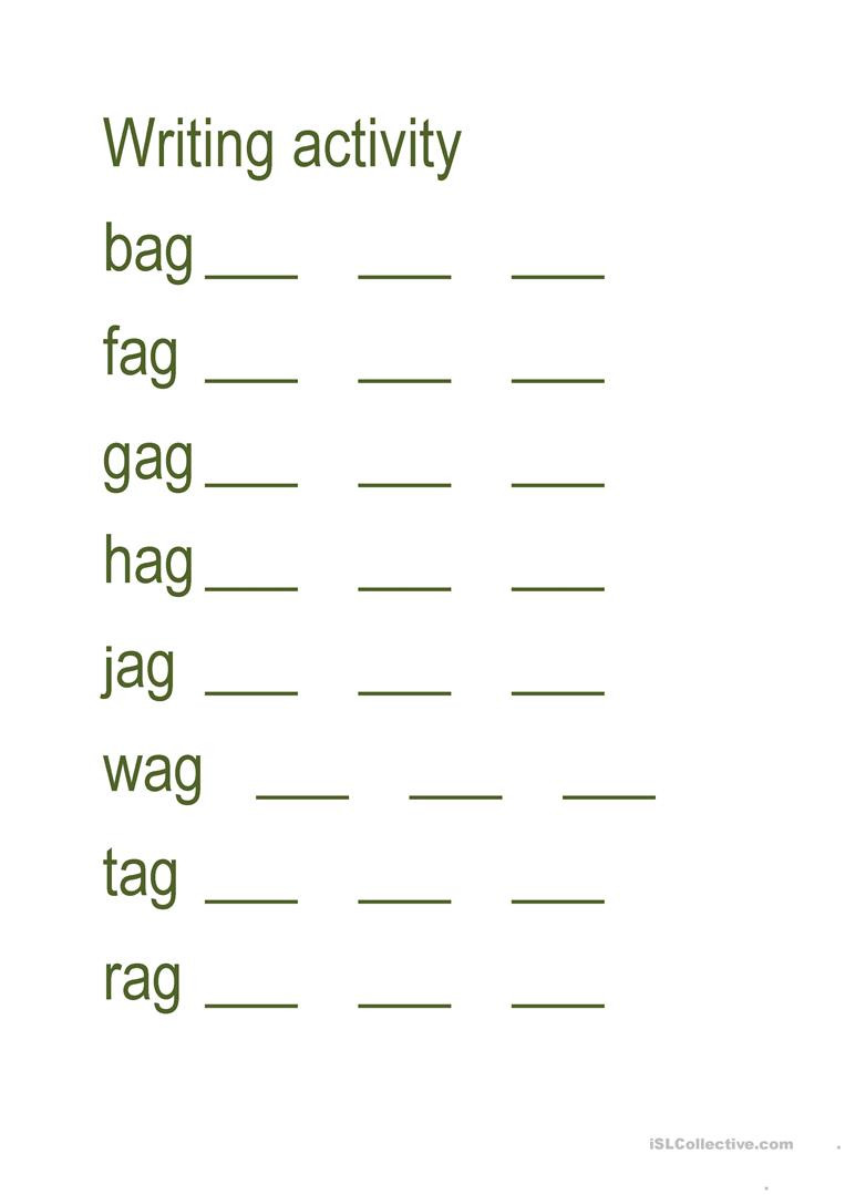 Kindergarten Three Letter Words Worksheets Write Three Letter Word English Esl Worksheets for