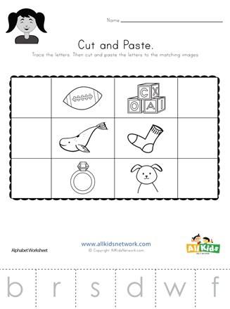 Kindergarten Worksheets Cut and Paste Beginning sounds Cut and Paste Worksheet 2