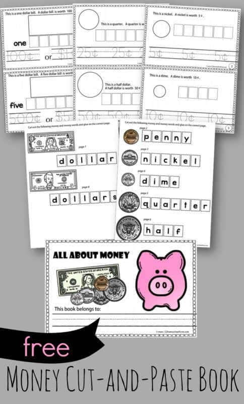 Kindergarten Worksheets Cut and Paste Money Cut and Paste Book