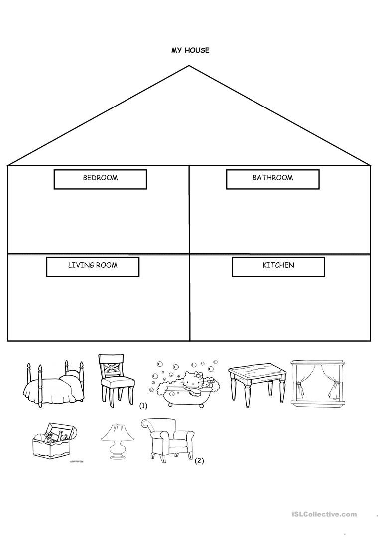 Kindergarten Worksheets Cut and Paste My House Cut and Paste English Esl Worksheets for