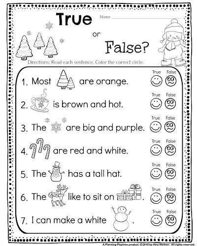 Kindergarten Worksheets Reading Comprehension Kindergarten Math and Literacy Worksheets for December