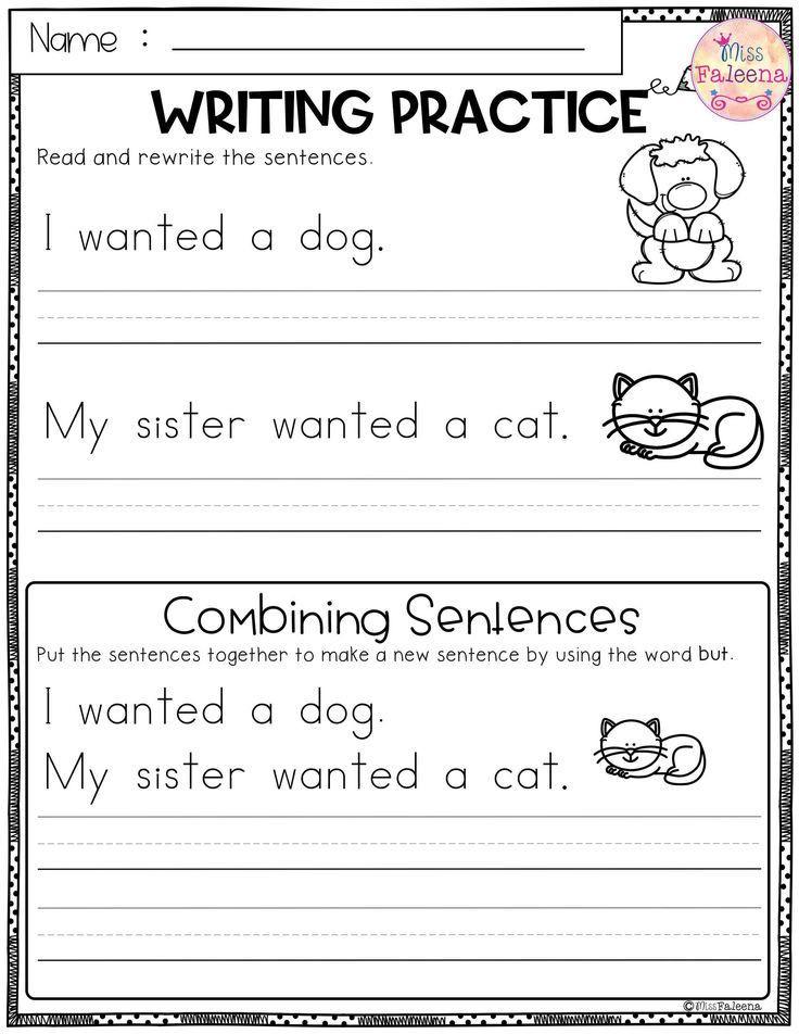 Kindergarten Writing Sentences Worksheets Free Writing Practice Bining Sentences