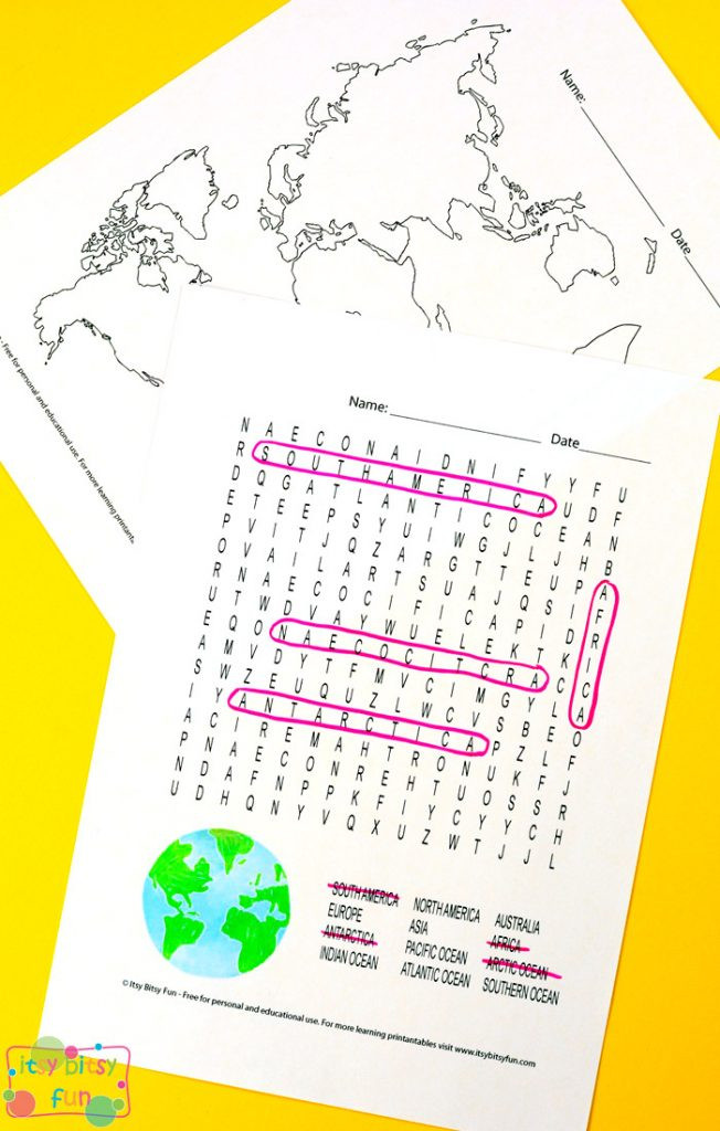 Label Continents and Oceans Printable Continents and Oceans Worksheets Free Word Search Quiz