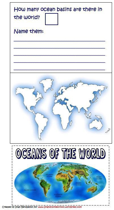 Label Continents and Oceans Printable Label the Oceans Free Lapbook or Notebook Page