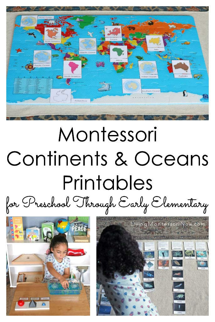 Label Continents and Oceans Printable Montessori Continents and Oceans Printables for Preschool