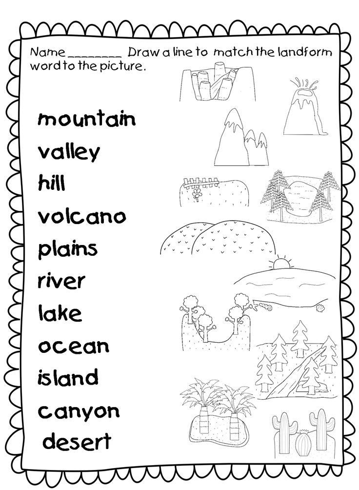 Landforms Worksheet for Kindergarten Laaaaaaaand Hooooooo