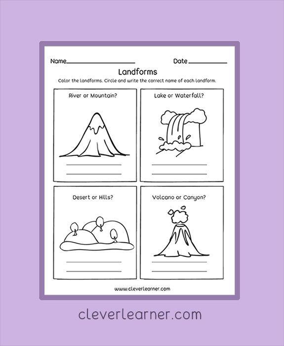 Landforms Worksheet for Kindergarten Label and Color the Landforms Worksheets Preschool