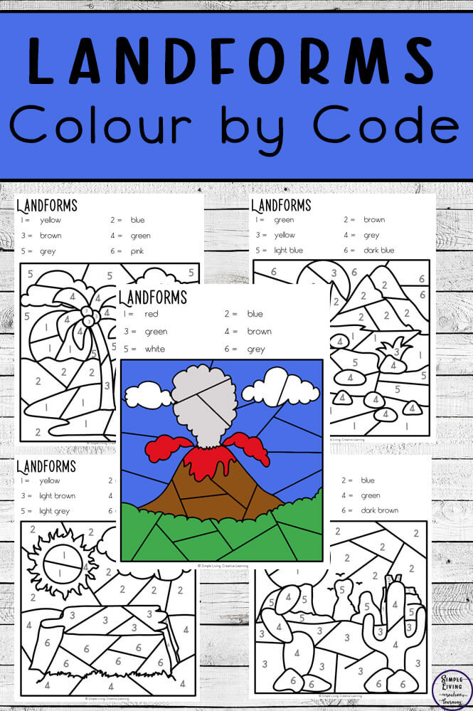 Landforms Worksheet for Kindergarten Landforms Colour by Code Worksheets Simple Living