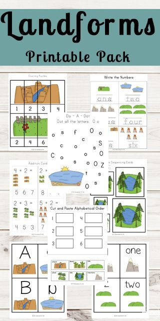 Landforms Worksheet for Kindergarten Landforms Printable Pack
