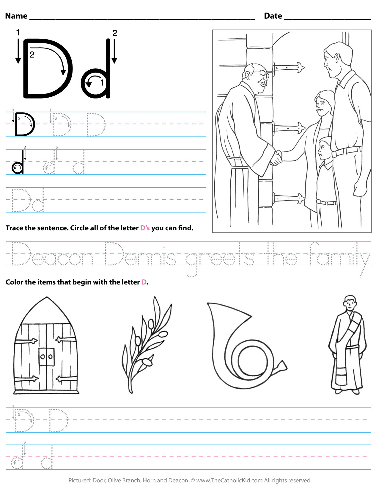 Letter D Worksheet Preschool Catholic Alphabet Letter D Worksheet Preschool Kindergarten