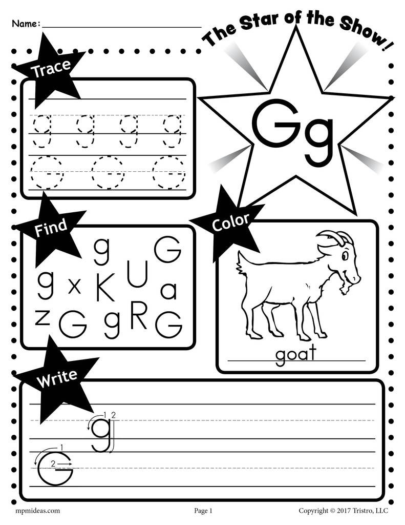 Letter G Worksheet Preschool Letter G Worksheet Tracing Coloring Writing & More