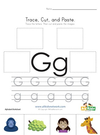 Letter G Worksheet Preschool Trace Cut and Paste Letter G Worksheet