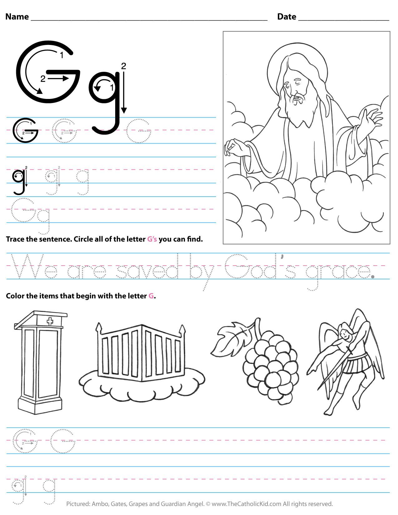 Letter G Worksheets for Kindergarten Catholic Alphabet Letter G Worksheet Preschool Kindergarten