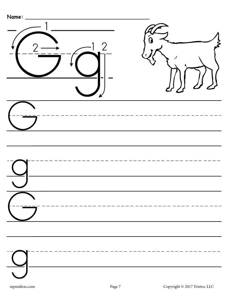 Letter G Worksheets for Kindergarten Printable Letter G Handwriting Worksheet