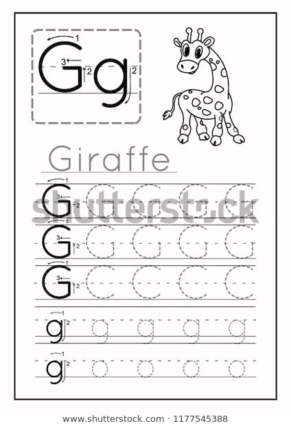 Letter G Worksheets for Kindergarten Writing Practice Letter G Printable Worksheet เวกเตอร์สต็อก