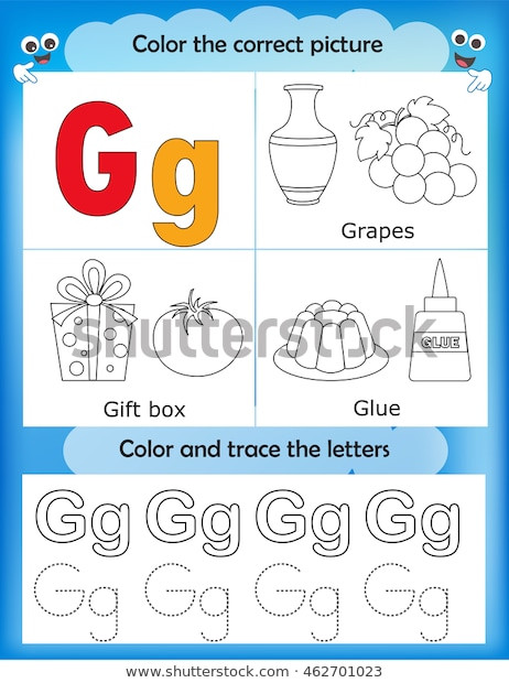 Letter G Worksheets Preschool Alphabet Learning Letters Coloring Graphics Printable เวก