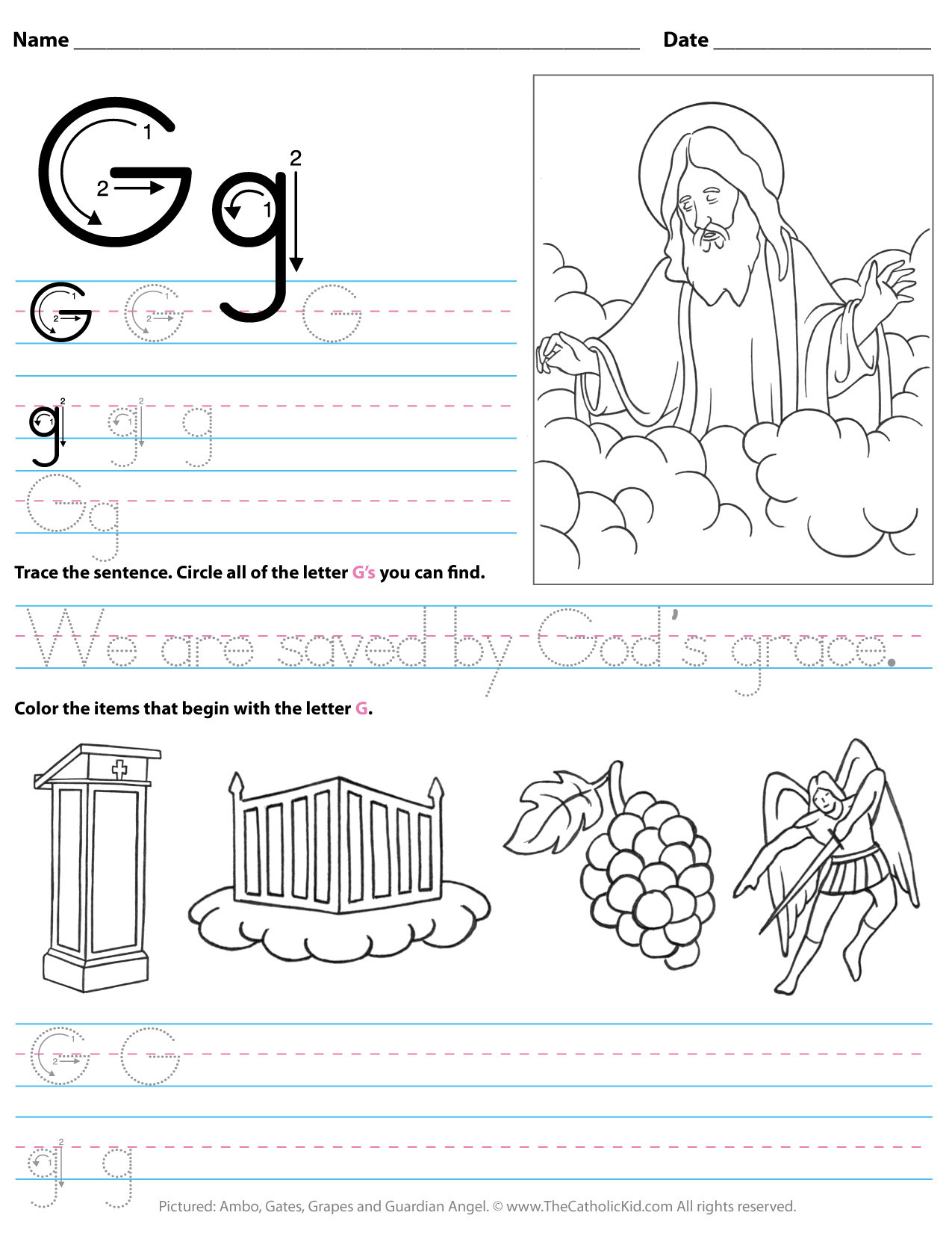 Letter G Worksheets Preschool Catholic Alphabet Letter G Worksheet Preschool Kindergarten