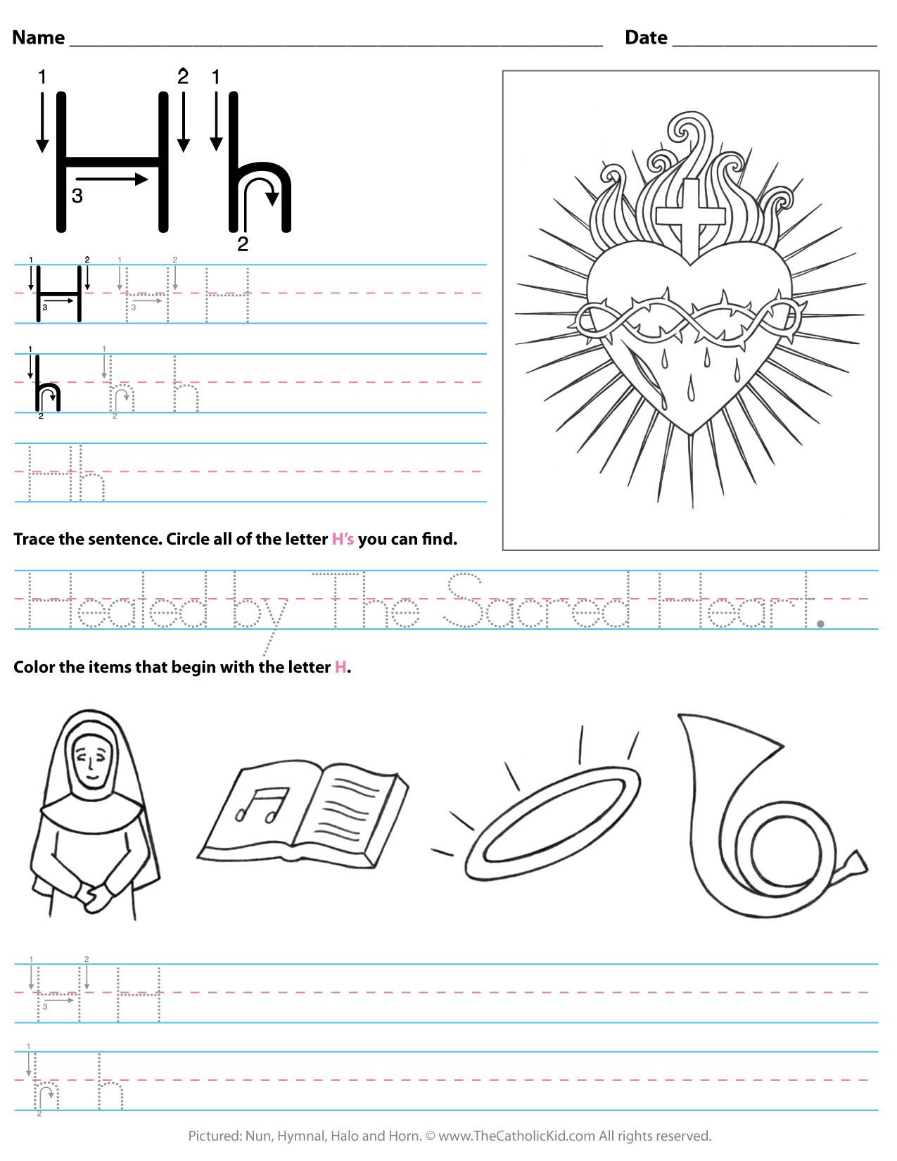 Letter H Worksheets for Kindergarten Catholic Alphabet Letter H Worksheet Preschool Kindergarten