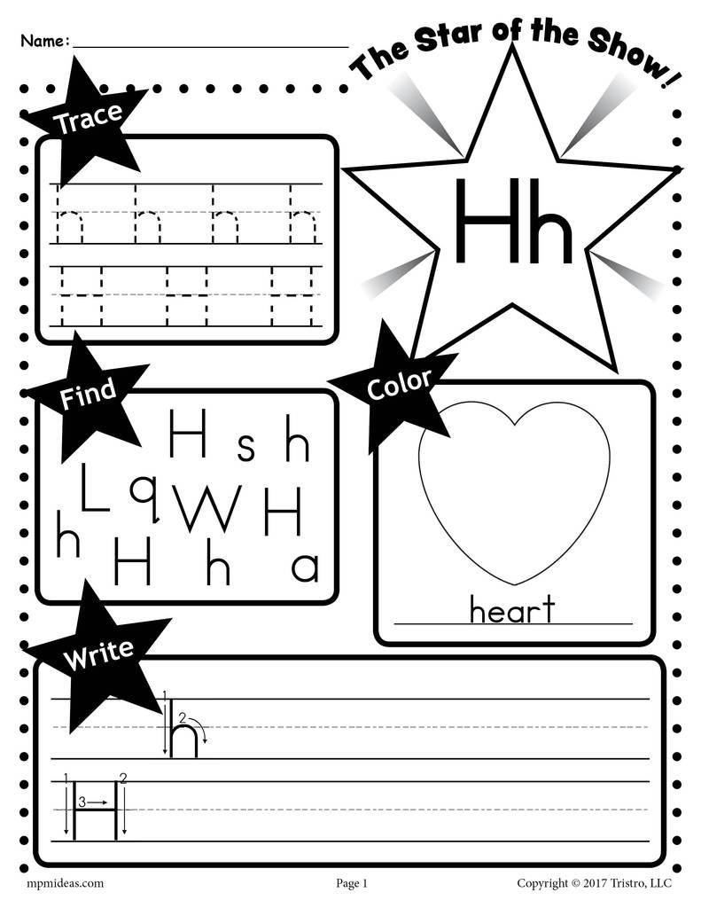 Letter H Worksheets for Kindergarten Letter H Worksheet Tracing Coloring Writing & More