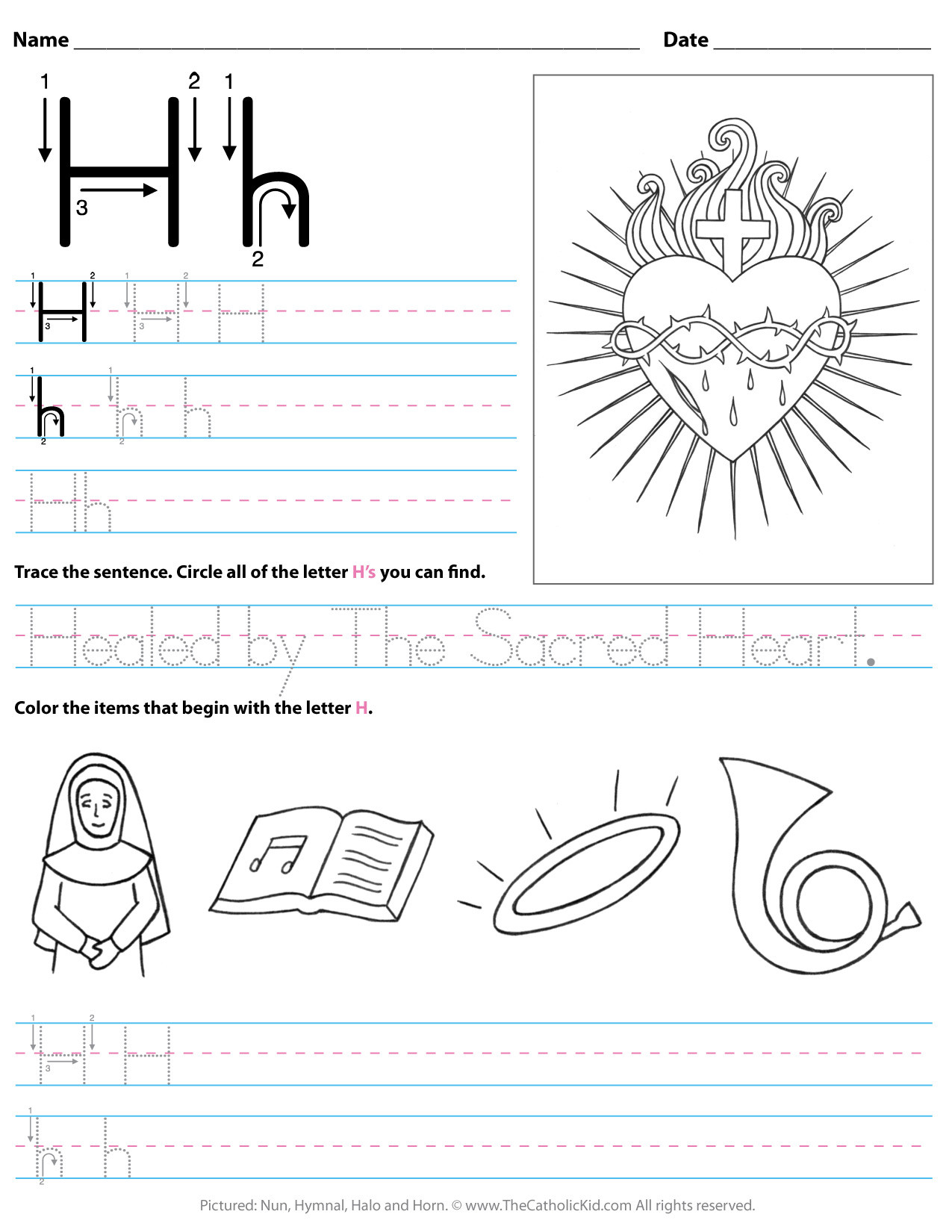 Letter H Worksheets for Preschoolers Catholic Alphabet Letter H Worksheet Preschool Kindergarten